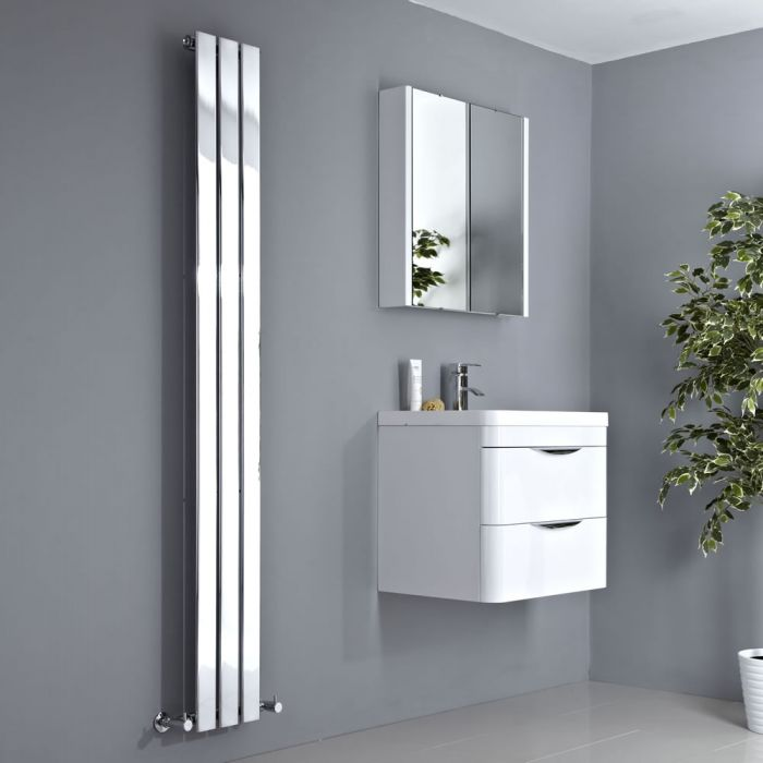 Milano Alpha - Chrome Vertical Slim Panel Designer Radiator 1800mm x 225mm