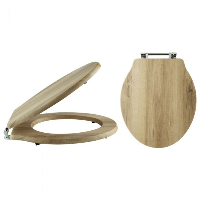 Milano - Natural Walnut Traditional Toilet Seat for Chancery and Ryther Toilet Pans - 370mm x 410mm