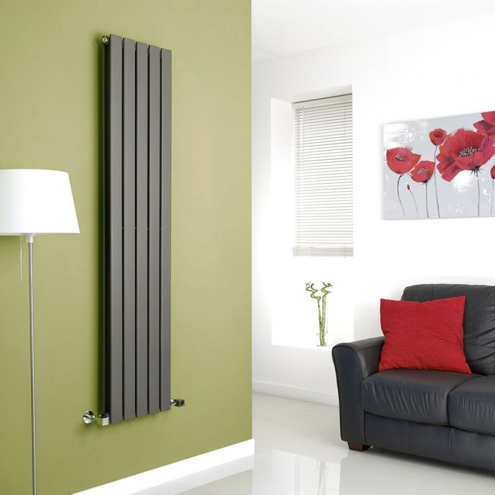 Milano Alpha - Anthracite Vertical Flat Panel Designer Radiator - 1600mm x 350mm (Double Panel)