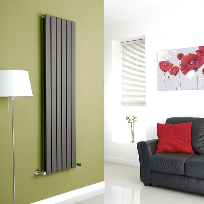 Milano Anthracite Vertical Double Slim Panel Designer Radiator 1600mm x 420mm