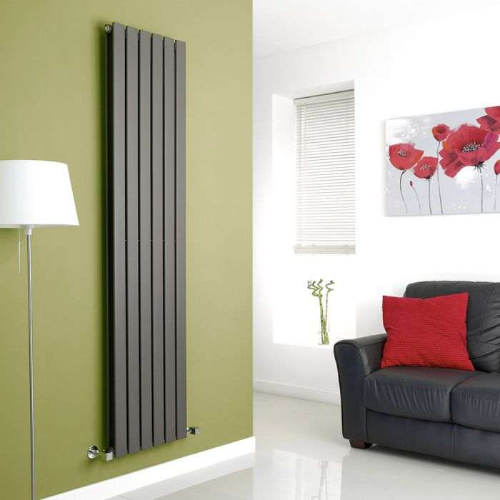 Milano Alpha - Anthracite Vertical Flat Panel Designer Radiator - 1780mm x 420mm (Double Panel)