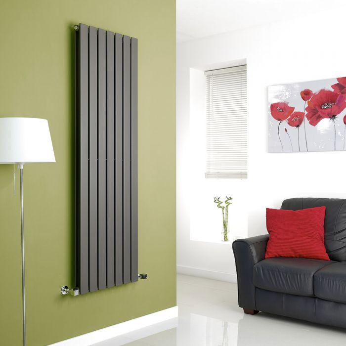 Milano Anthracite Vertical Double Slim Panel Designer Radiator 1600mm x 490mm