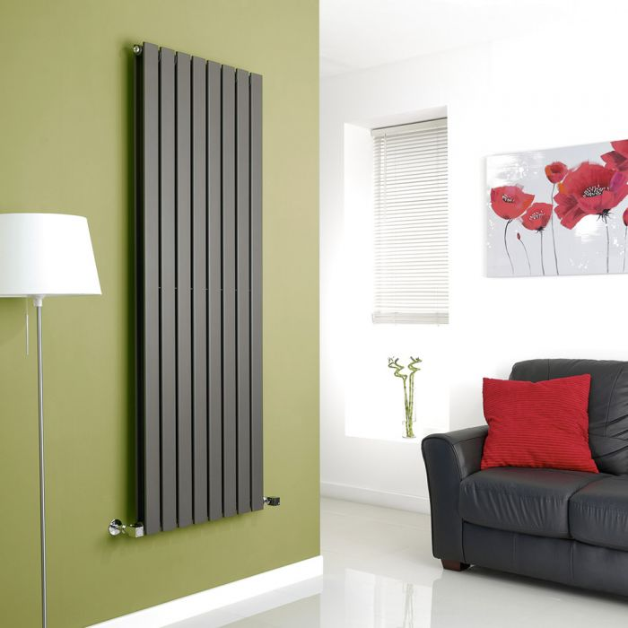 Milano Alpha - Anthracite Flat Panel Vertical Designer Radiator - 1600mm x 560mm (Double Panel)