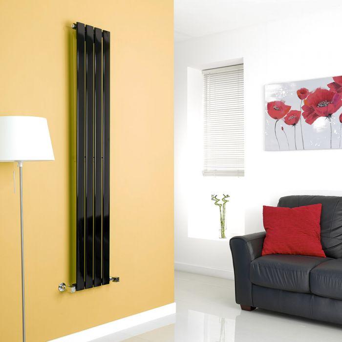 Milano Alpha - Black Vertical Flat Panel Designer Radiator - 1600mm x 280mm