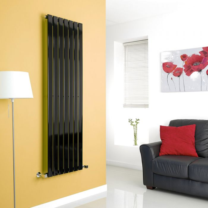 Milano High-Gloss Black Vertical Single Slim Panel Designer Radiator 1600mm x 490mm