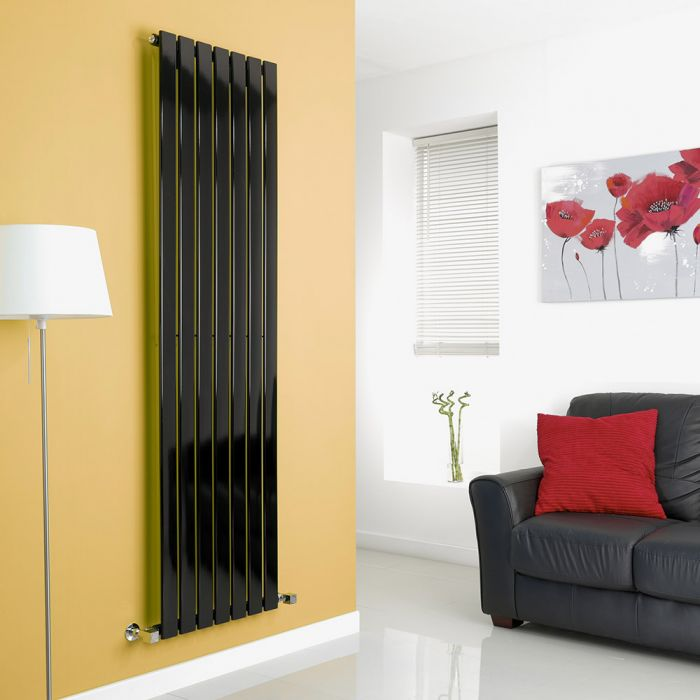 Milano Alpha - Black Flat Panel Vertical Designer Radiator - 1780mm x 490mm