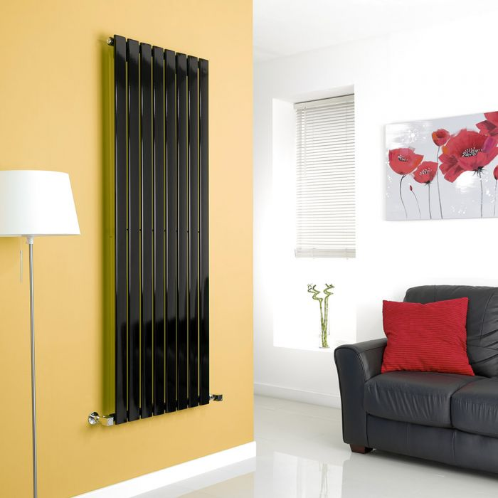 Milano High-Gloss Black Vertical Single Slim Panel Designer Radiator 1600mm x 560mm