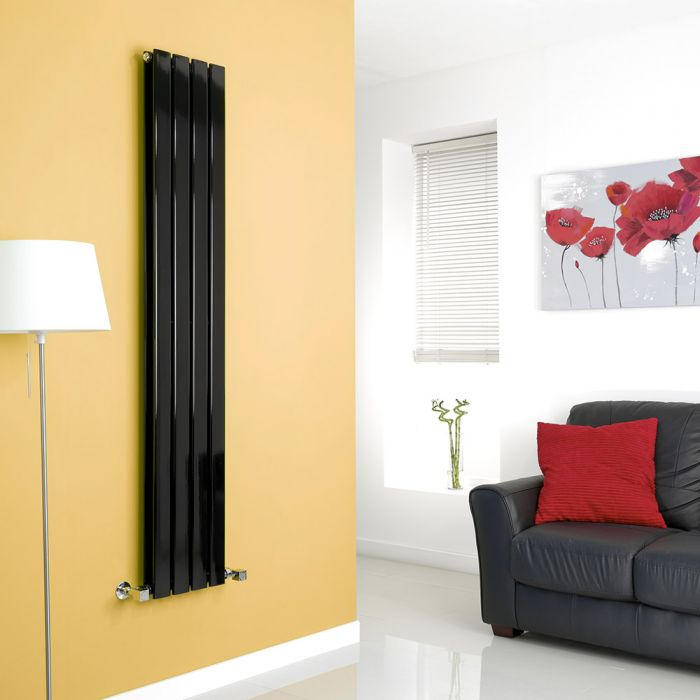 Milano High-Gloss Black Vertical Double Slim Panel Designer Radiator 1600mm x 280mm