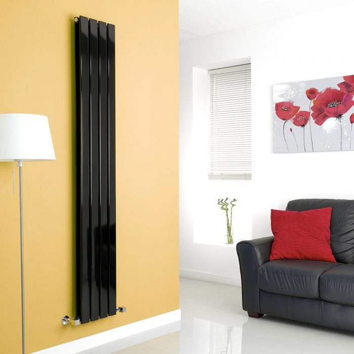 Milano Alpha - Black Flat Panel Vertical Designer Radiator - 1780mm x 280mm (Double Panel)