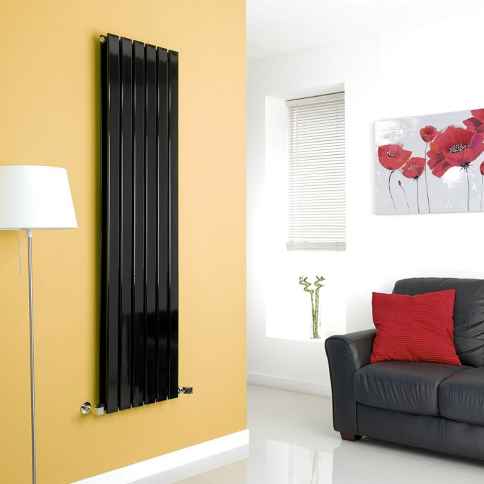 Milano Alpha - Black Flat Panel Vertical Designer Radiator - 1600mm x 420mm (Double Panel)