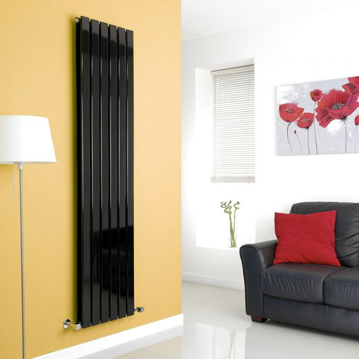 Milano High-Gloss Black Vertical Double Slim Panel Designer Radiator 1780mm x 420mm