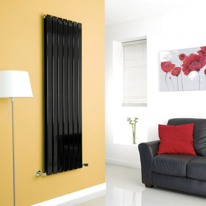 Milano Alpha - Black Vertical Flat Panel Designer Radiator - 1600mm x 490mm (Double Panel)