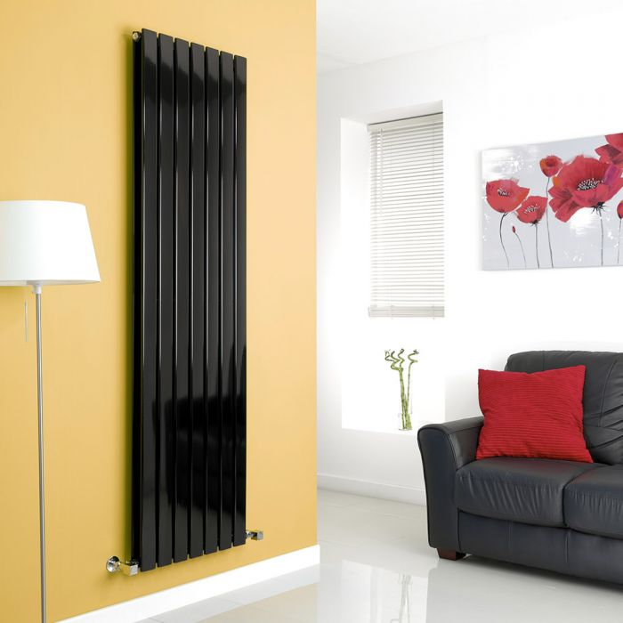 Milano Alpha - Black Flat Panel Vertical Designer Radiator - 1780mm x 490mm (Double Panel)