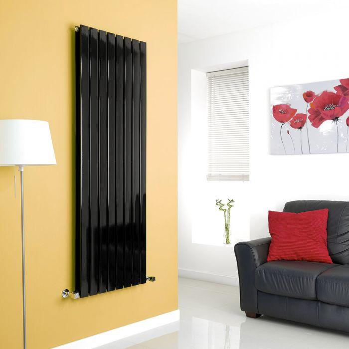 Milano Alpha - Black Vertical Flat Panel Designer Radiator - 1600mm x 560mm (Double Panel)