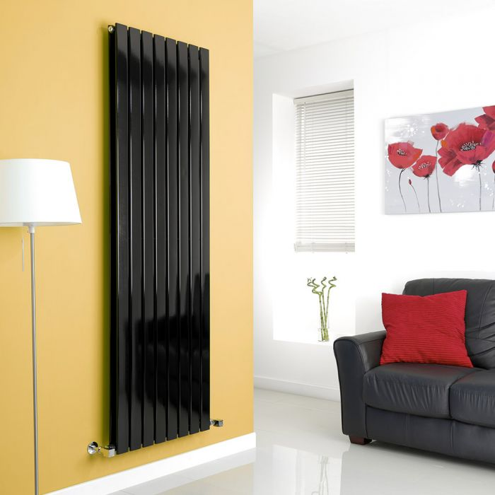 Milano Alpha - Black Vertical Flat Panel Designer Radiator - 1780mm x 560mm (Double Panel)