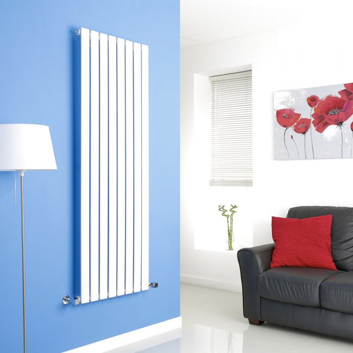 Milano White Vertical Single Slim Panel Designer Radiator 1600mm x 560mm