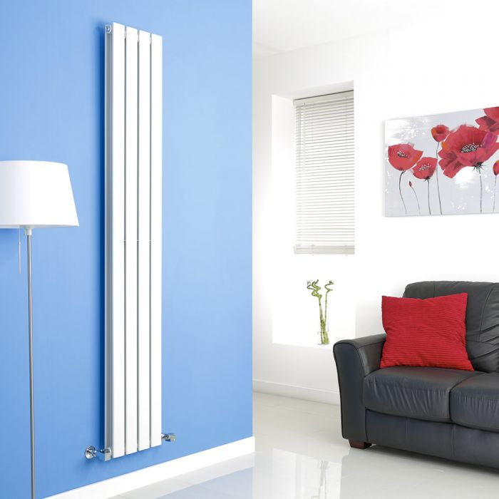 Milano Alpha - White Vertical Flat Panel Designer Radiator - 1780mm x 280mm (Double Panel)