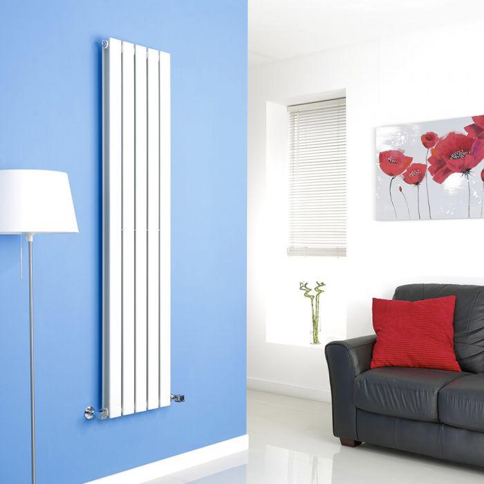 Milano Alpha - White Vertical Flat Panel Designer Radiator - 1600mm x 350mm (Double Panel)