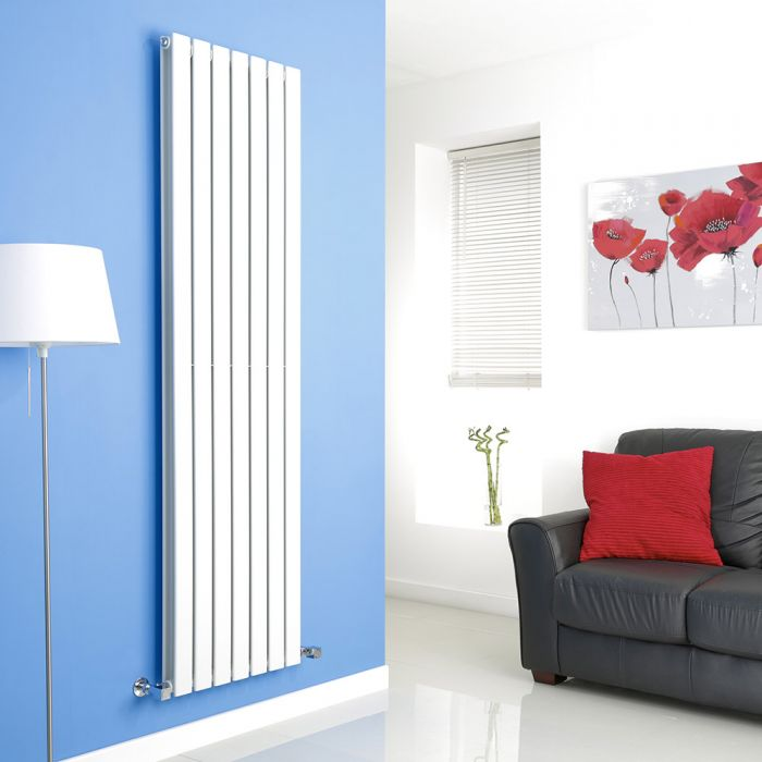 Milano Alpha - White Flat Panel Vertical Designer Radiator - 1780mm x 490mm (Double Panel)