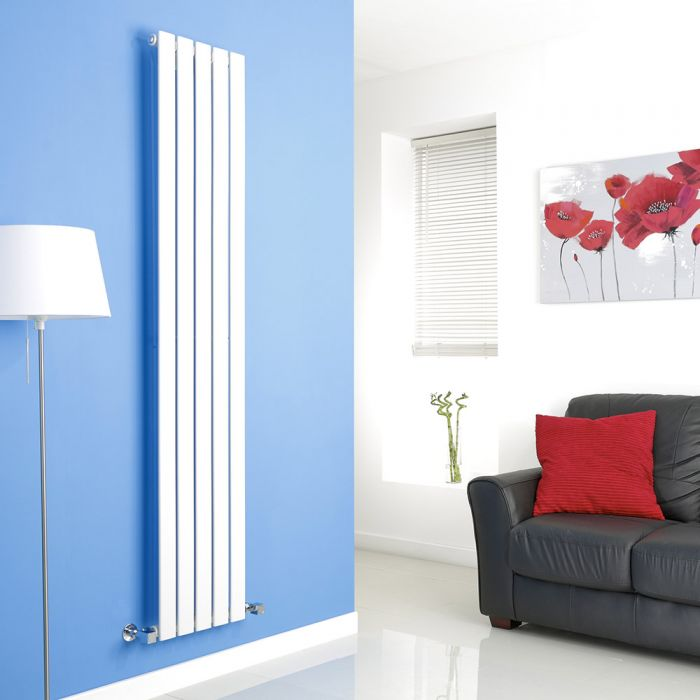 Milano Alpha - White Vertical Flat Panel Designer Radiator - 1780mm x 350mm