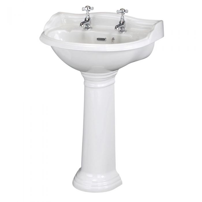 Milano Florence - 600mm Basin with Full Pedestal - 2 Tap-Holes
