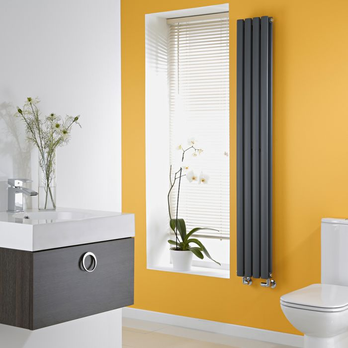 Milano Anthracite Space-Saving Vertical Designer Radiator 1600mm x 236mm (Double Panel)