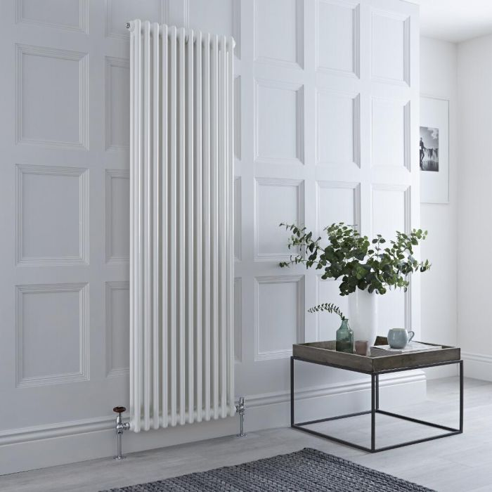 Milano Windsor - White Traditional Vertical Column Radiator - 1800mm x 560mm (Double Column)