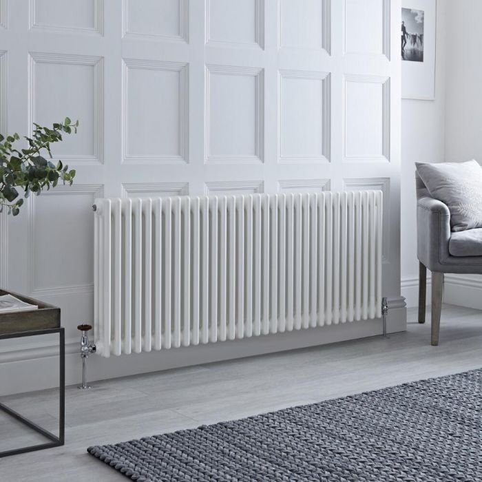 Milano Windsor - White Traditional Horizontal Column Radiator - 600mm x 1470mm (Triple Column)