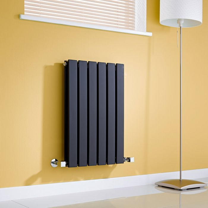 Milano Alpha - Gloss Black Horizontal Double Slim Panel Designer Radiator 635mm x 420mm