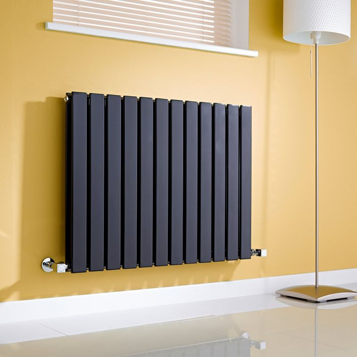 Milano Alpha - Black Horizontal Flat Panel Designer Radiator - 635mm x 840mm (Double Panel)