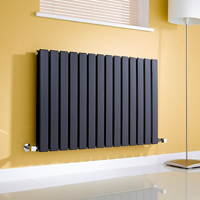 Milano Alpha - Black Flat Panel Horizontal Designer Radiator - 635mm x 980mm (Double Panel)