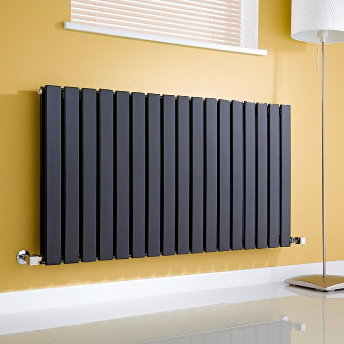 Milano Alpha - Gloss Black Horizontal Double Slim Panel Designer Radiator 635mm x 1190mm
