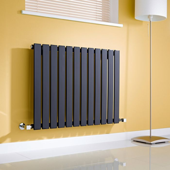 Milano Alpha - Gloss Black Horizontal Single Slim Panel Designer Radiator 635mm x 840mm