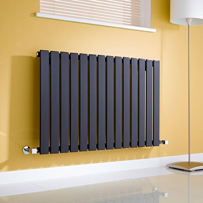 Milano Alpha - Black Horizontal Flat Panel Designer Radiator - 635mm x 980mm