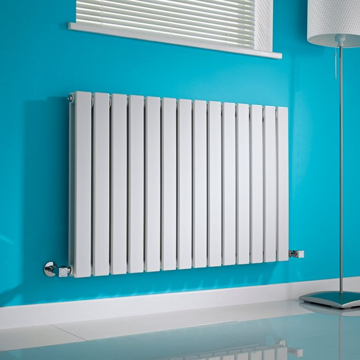 Milano Alpha - White Horizontal Double Slim Panel Designer Radiator 635mm x 980mm