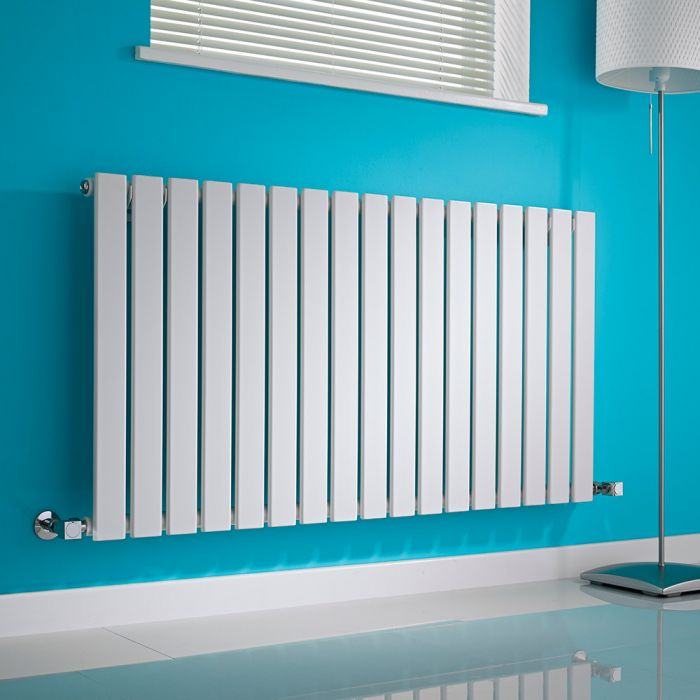 Milano Alpha - White Horizontal Flat Panel Designer Radiator - 635mm x 1190mm