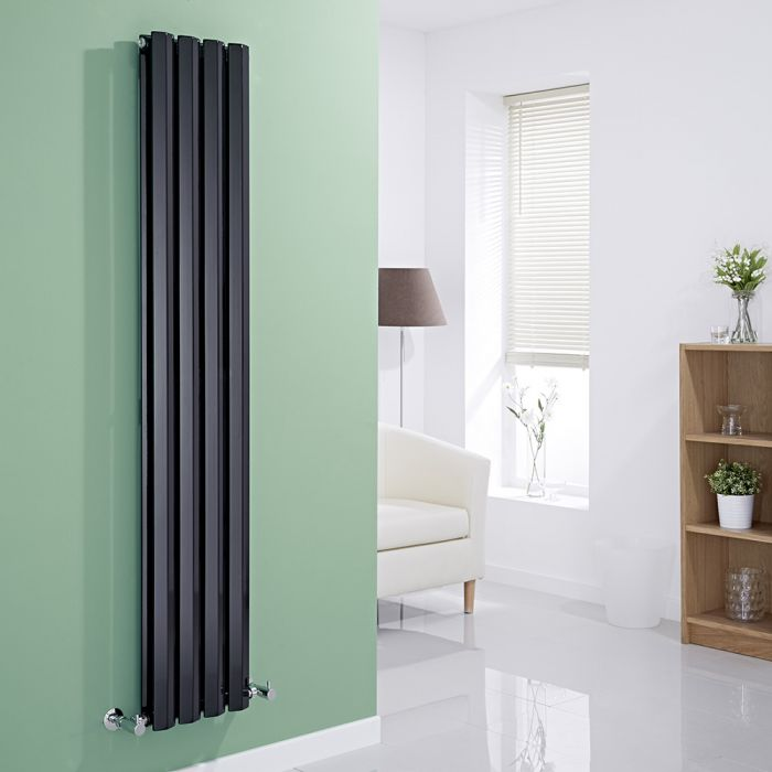 Milano Viti - Gloss Black Vertical Diamond Double Panel Designer Radiator 1600mm x 280mm