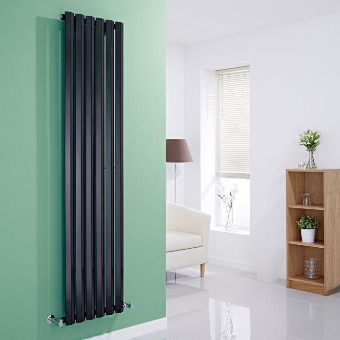 Milano Viti - Black Vertical Diamond Panel Designer Radiator - 1780mm x 420mm