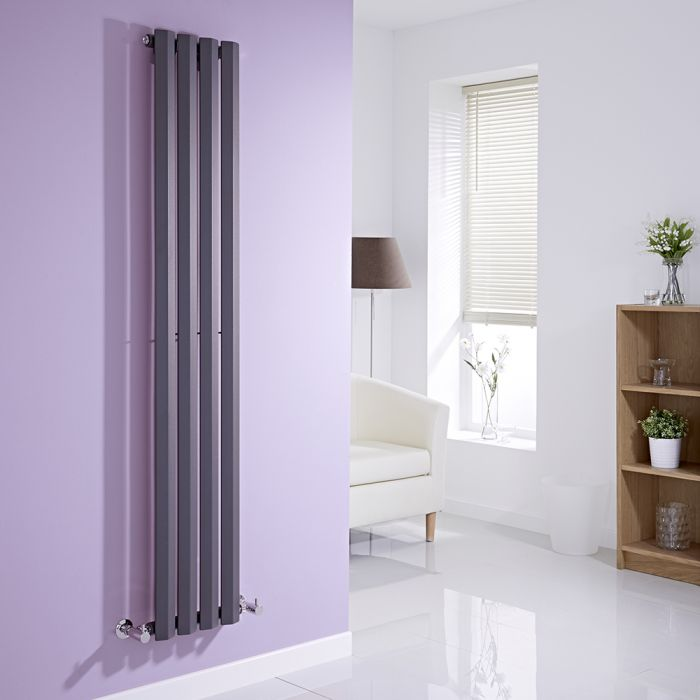 Milano Viti - Anthracite Vertical Diamond Panel Designer Radiator 1600mm x 280mm
