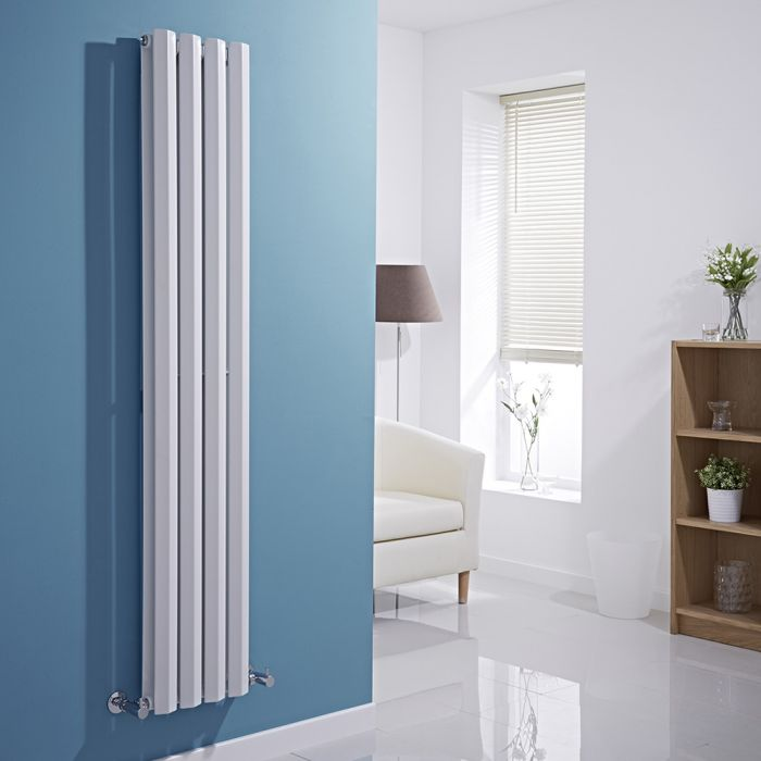 Milano Viti - White Vertical Diamond Panel Designer Radiator - 1600mm x 280mm (Double Panel)