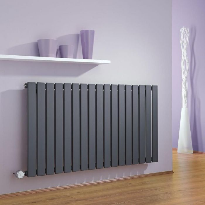 Milano Alpha - Anthracite Horizontal Slim Panel Bluetooth Equipped Electric Designer Radiator - 635mm x 1190mm