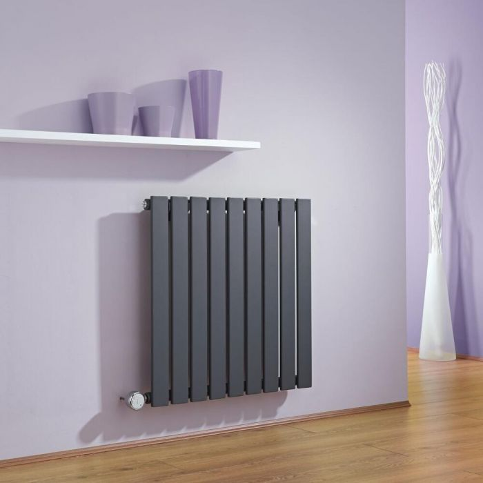 Milano Alpha - Anthracite Horizontal Single Slim Panel Electric Designer Radiator 635mm x 630mm