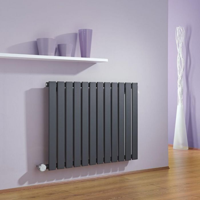 Milano Alpha - Anthracite Slim Panel Bluetooth Equipped Electric Horizontal Designer Radiator - 635mm x 840mm