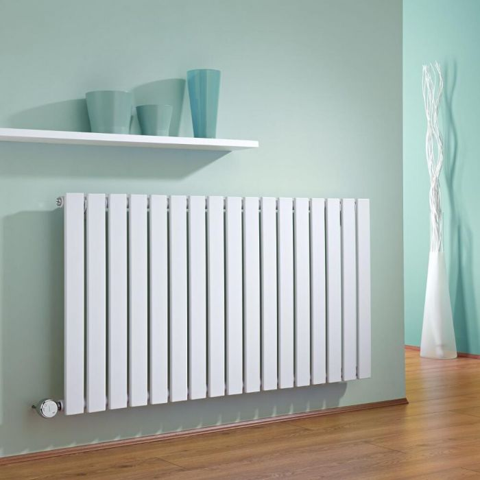 Milano Alpha - White Horizontal Single Slim Panel Electric Designer Radiator 635mm x 1190mm