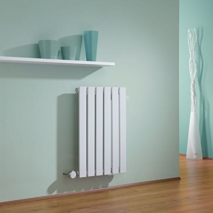 Milano Alpha - White Slim Panel Bluetooth Equipped Electric Horizontal Designer Radiator - 635mm x 420mm