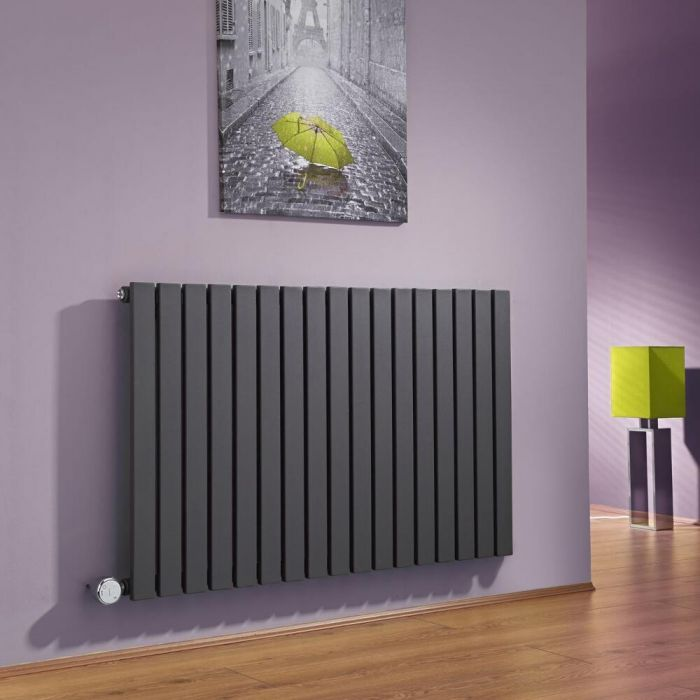 Milano Capri - Anthracite Horizontal Flat Panel Bluetooth Equipped Electric Designer Radiator - 635mm x 1000mm