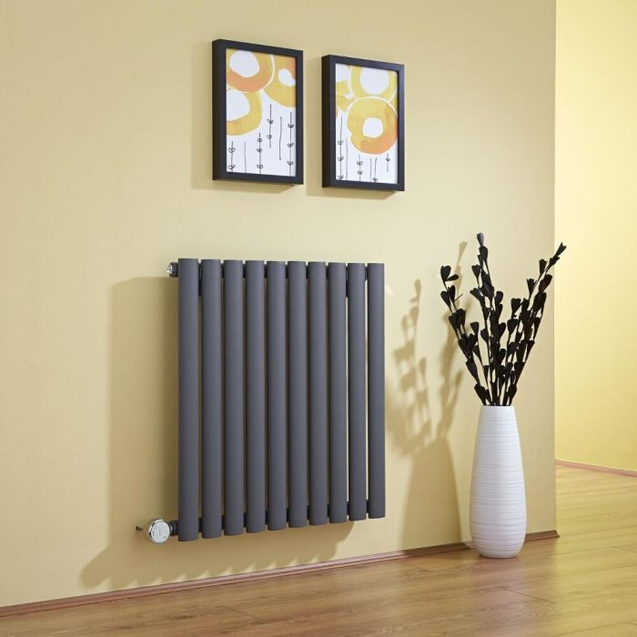 Milano Aruba - Anthracite Bluetooth Equipped Electric Horizontal Designer Radiator - 635mm x 595mm
