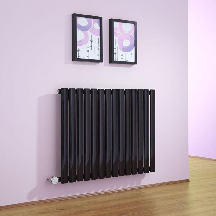 Milano Aruba - Luxury Black Horizontal Electric Designer Radiator 635mm x 834mm