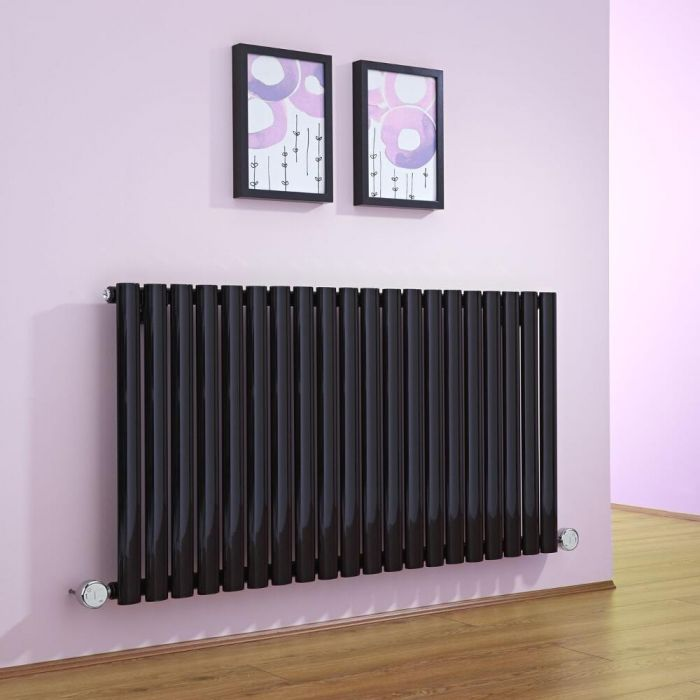 Milano Aruba - Black Bluetooth Equipped Electric Horizontal Designer Radiator - 635mm x 1180mm