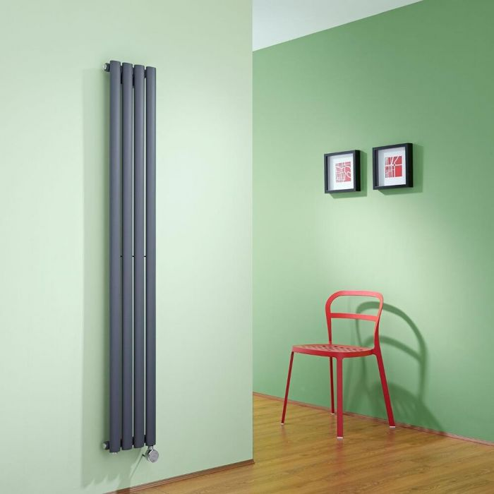 Milano Aruba Slim Electric - Anthracite Vertical Space-Saving Designer Radiator - 1600mm x 236mm